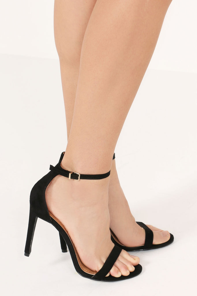 Angel Black Suedette Barely There Sandals