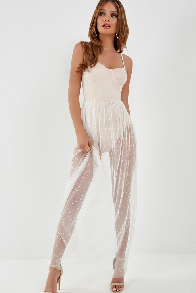 Angel White Spotted Mesh Bodice Maxi Dress (1921302396994)