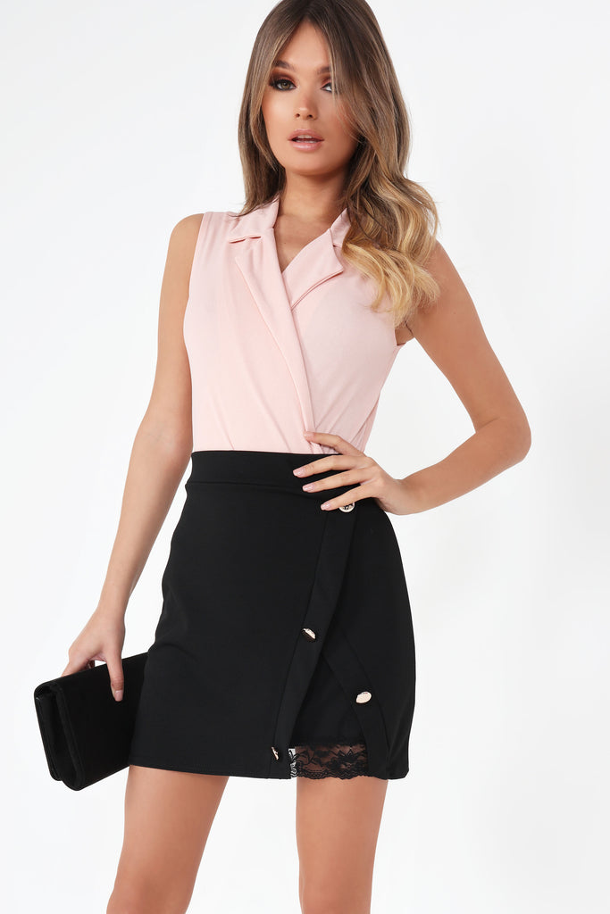 Angelica Black Button Detail Skirt (129352728592)