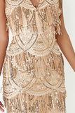 Angelina Gold Sequin Tassel Cami Dress