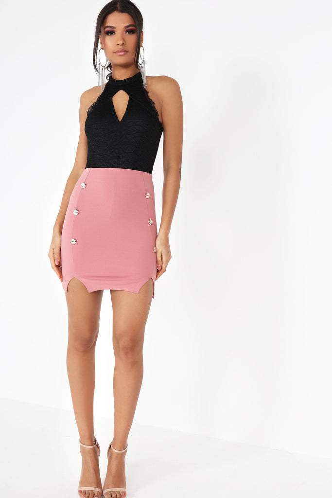 Anika Blush Button Mini Skirt (99542827024)