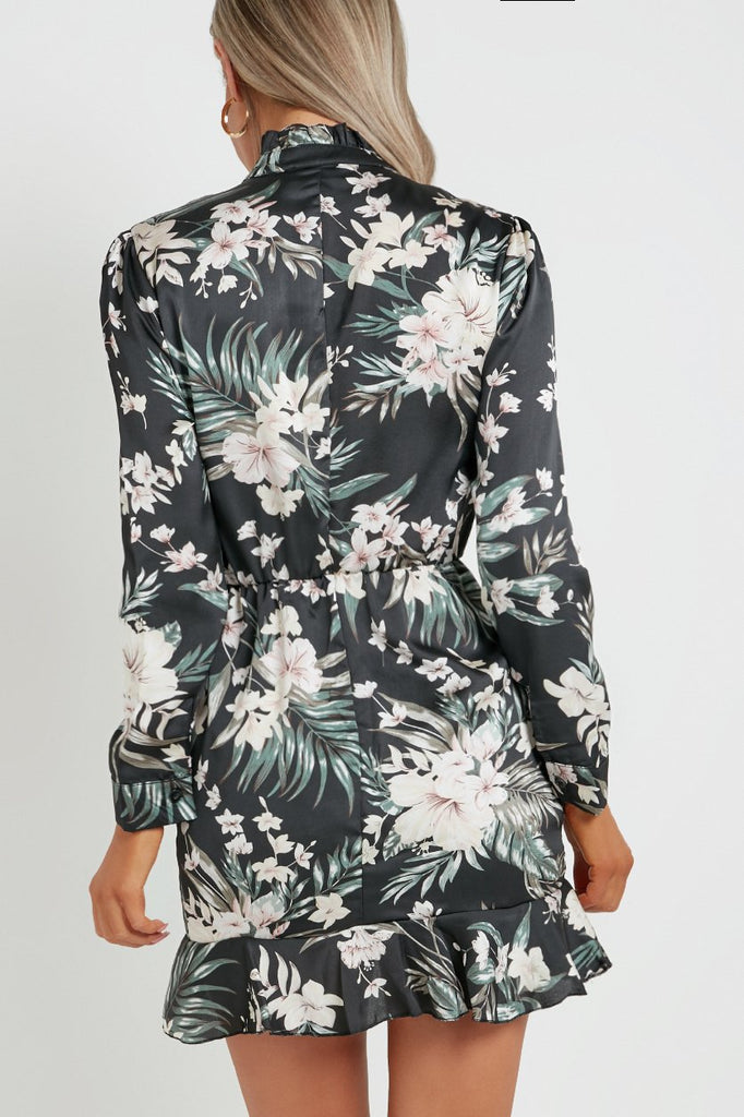 Anna Black Floral High Neck Dress