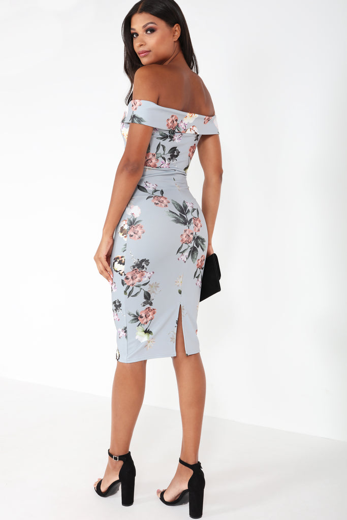 Anna-May Grey Floral Bardot Dress