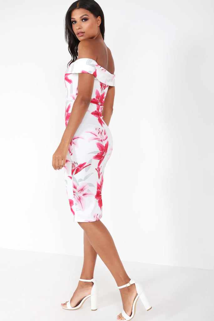 Anna-May Pink Floral Bardot Dress