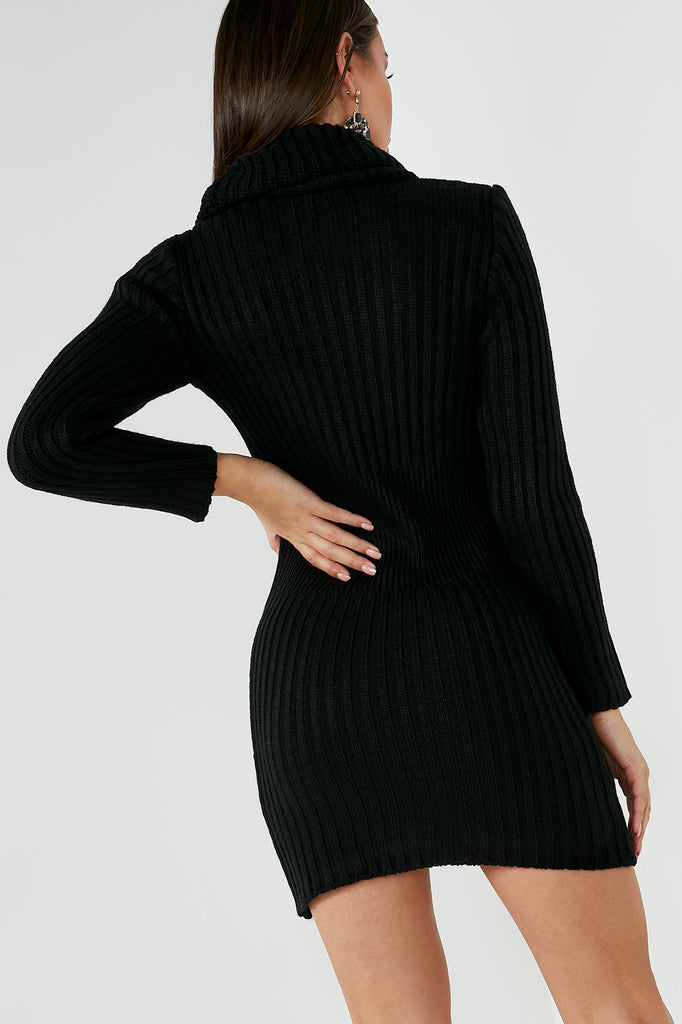 Annabelle Black Knit Jumper Dress