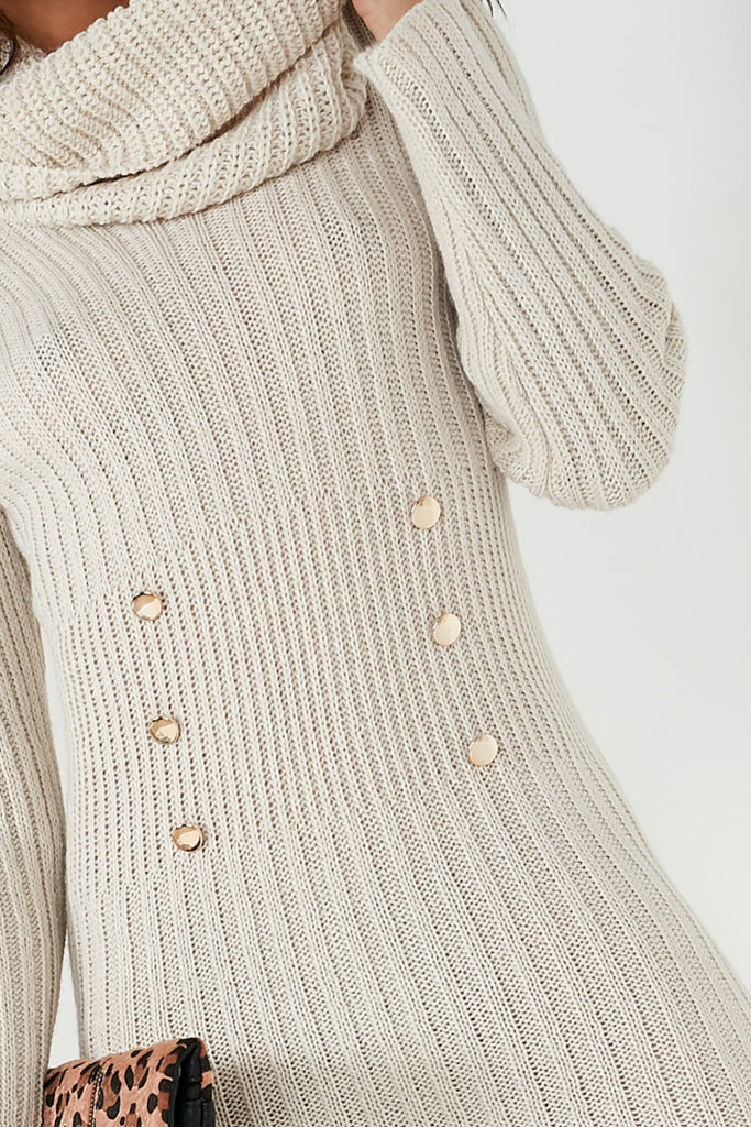 Annabelle Stone Knit Jumper Dress