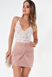 Anne Pink Knot Front Ruched Skirt