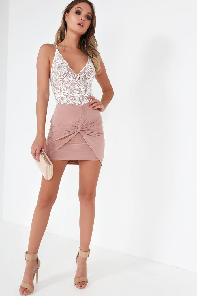 Anne Pink Knot Front Ruched Skirt (5821569157)