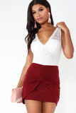 Anne Wine Knot Front Ruched Skirt