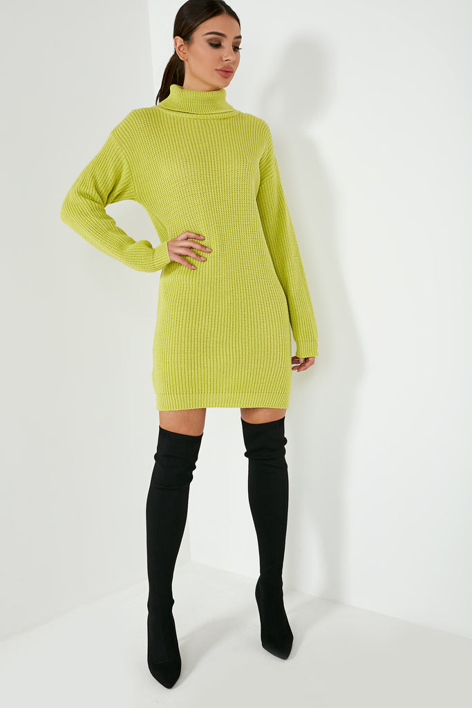 Annette Lime Knit Jumper Dress