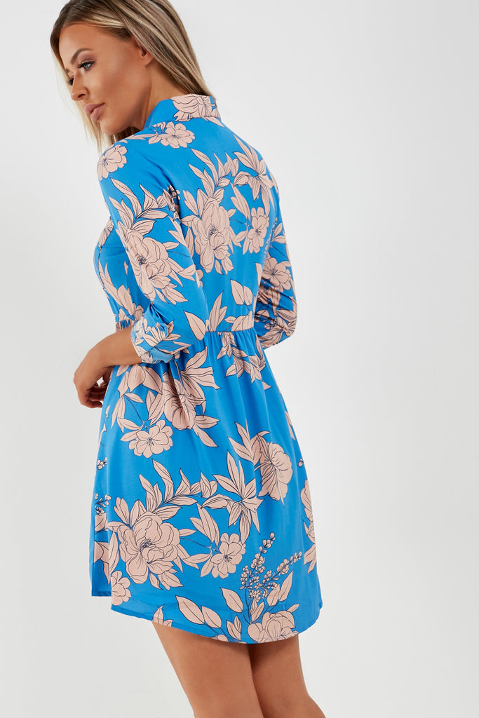 Annie Blue Floral Shirt Dress (1936233463874)