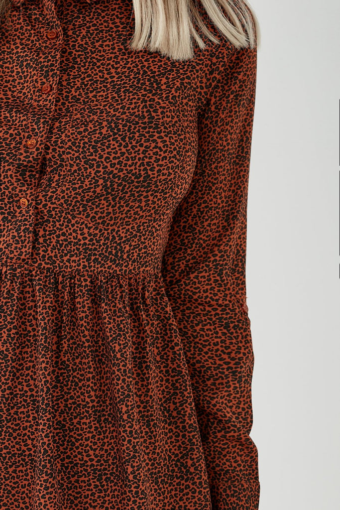 Annie Brown Animal Print Shirt Dress (4343327817794)