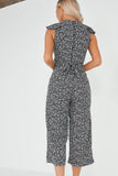 Annie Navy Ditsy Print Frill Jumpsuit