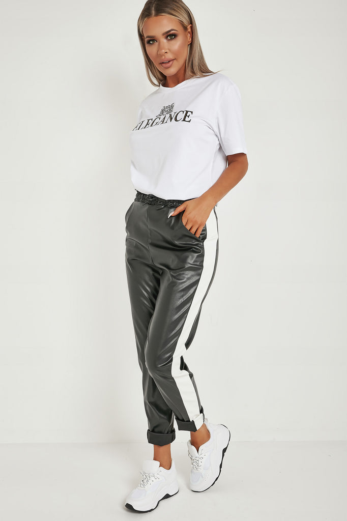 Annika Black Side Stripe PU Trousers