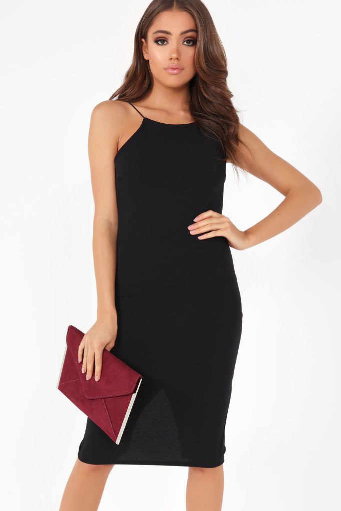Anny Black Racer Front Bodycon Dress