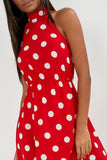 Anya Red Polka Dot High Neck Dress