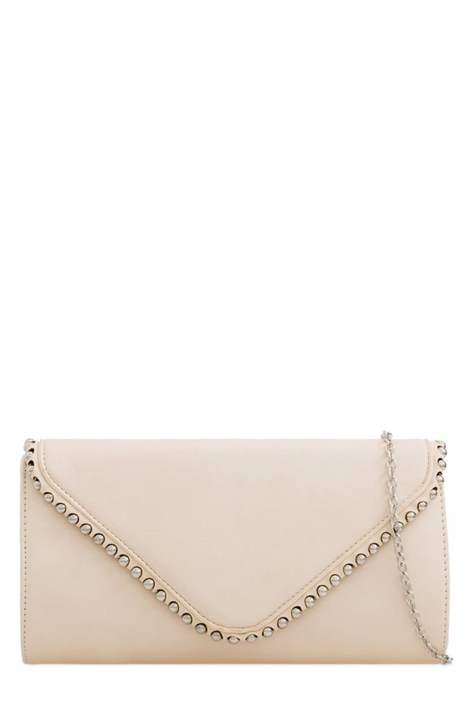 Aoife Cream Leatherette Studded Clutch Bag