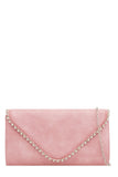Aoife Pink Leatherette Studded Clutch Bag (87837442064)