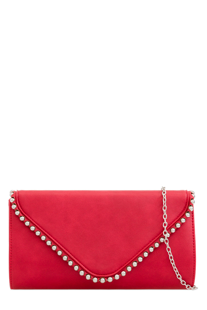 Aoife Red Leatherette Studded Clutch Bag (87832690704)