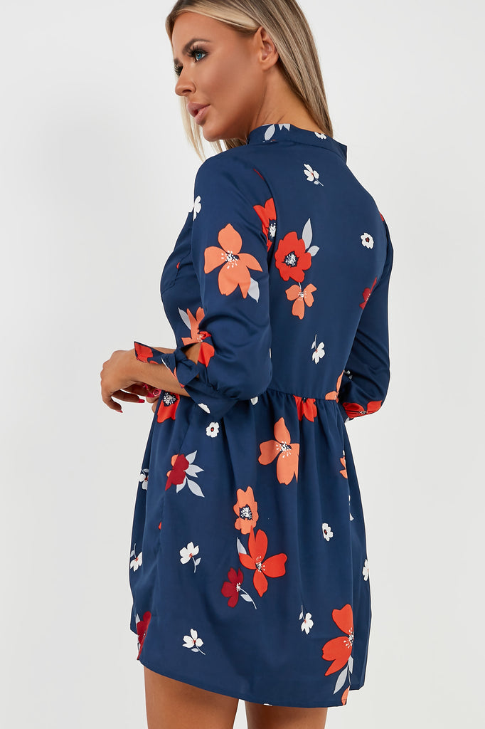 April Navy Floral Grandad Collar Smock Shirt Dress