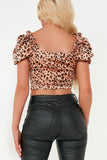 April Peach Leopard Milkmaid Crop Top