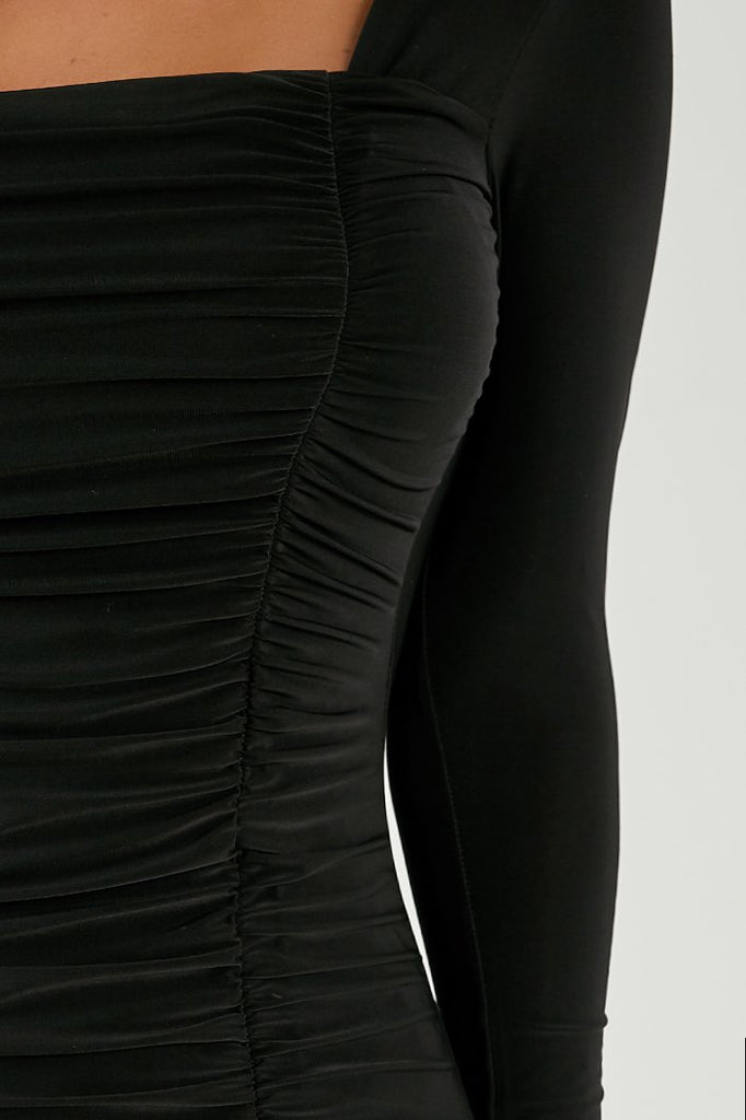 Aria Black Ruched Long Sleeve Slinky Dress