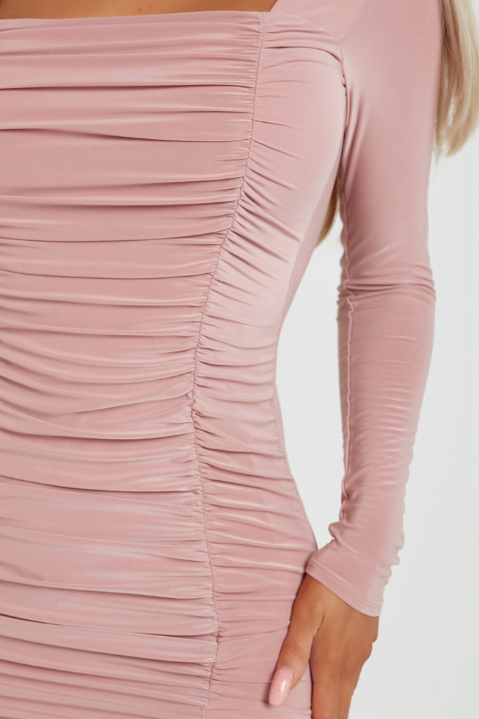 Aria Pink Ruched Long Sleeve Slinky Dress