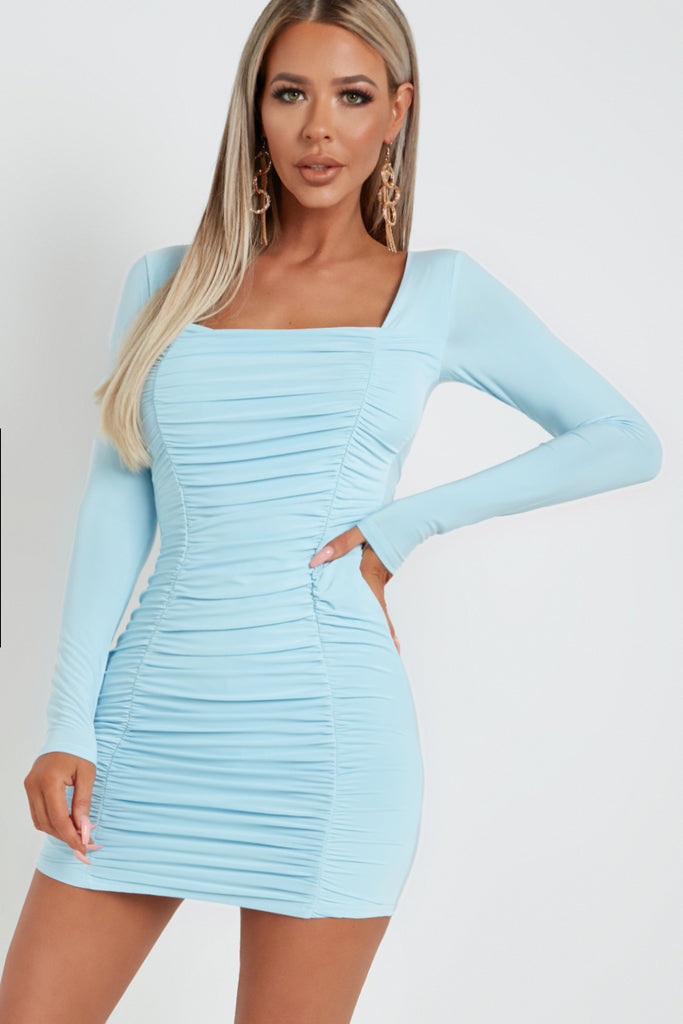 Aria Powder Blue Ruched Long Sleeve Slinky Dress
