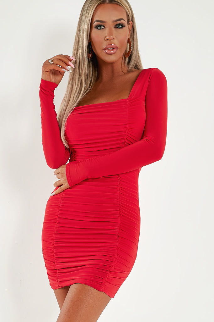 Aria Red Ruched Long Sleeve Slinky Dress