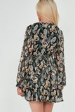 Ariana Black Leaf Print Ruffle Chriffon Dress