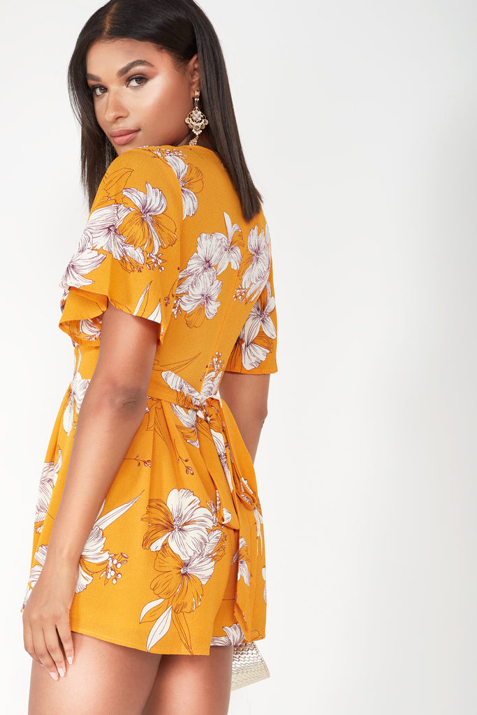Ariana Mango Floral V Neck Playsuit