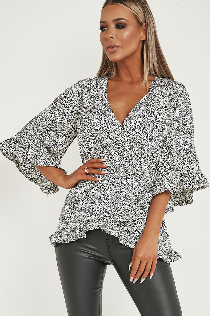 Ariel Cream Animal Print Wrap Top