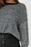 Arkina Monochrome Striped Fluffy Jumper