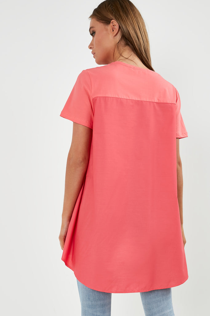 Arlena Coral Contrast High Low Top