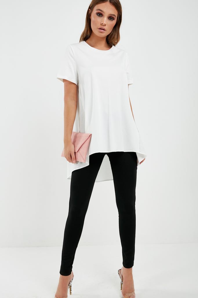 Arlena Cream Contrast High Low Top