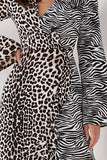Arlene Animal Print Wrap Front Dress