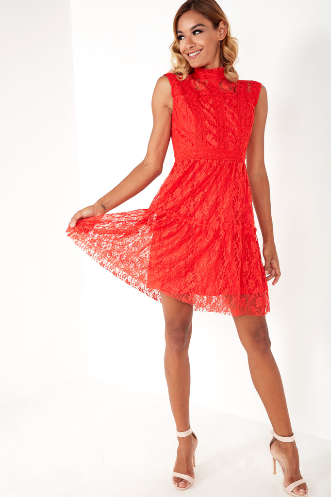 Arlie Red High Neck Lace Skater Dress