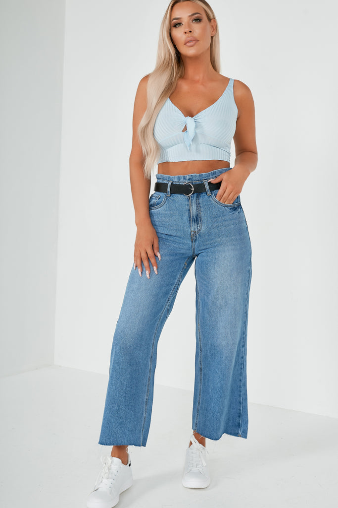 Artie Blue Ribbed Tie Front Crop Top