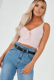 Artie Pink Ribbed Tie Front Crop Top