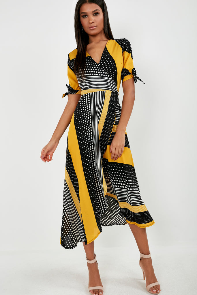 Ashling Yellow Multi Print Wrap Dress