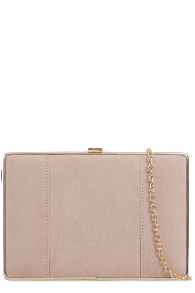 Aubree Beige Suede Box Clutch Bag