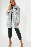 Audrina Monochrome Check Faux Leather Trim Shacket