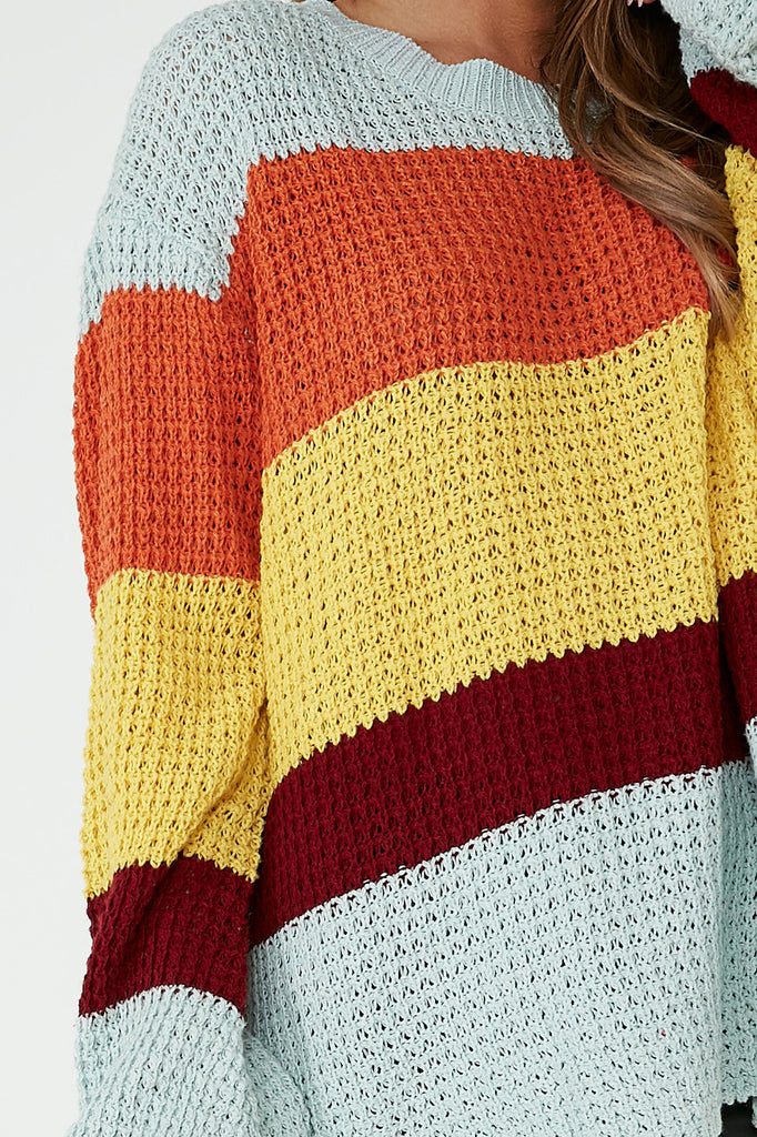 Ava Green Knit Colour Block Jumper