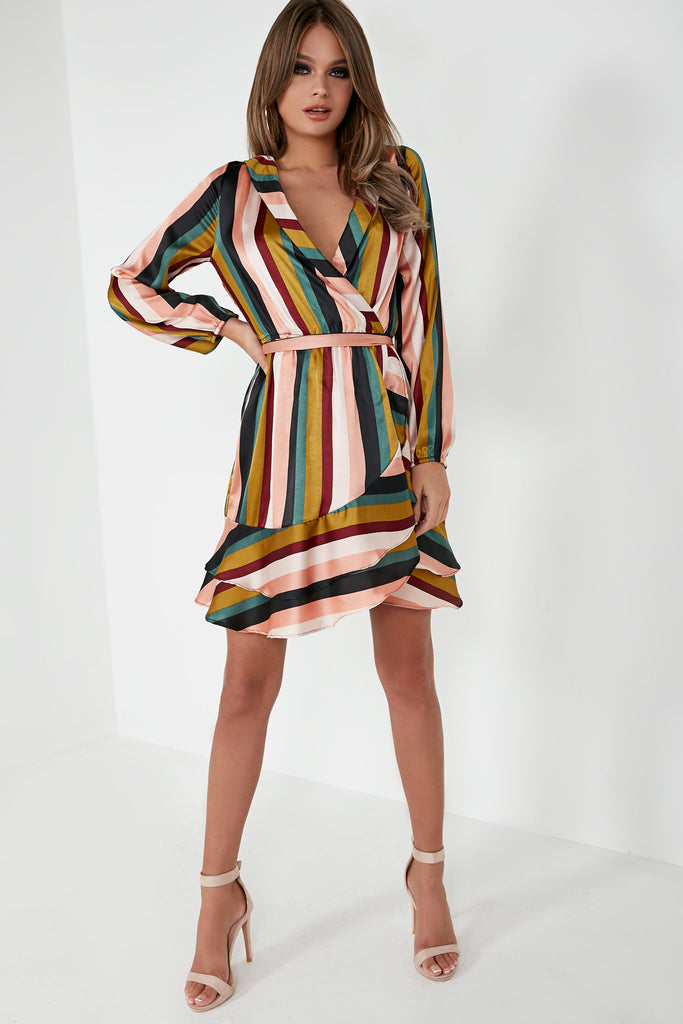 Avani Multi Striped Frill Wrap Dress