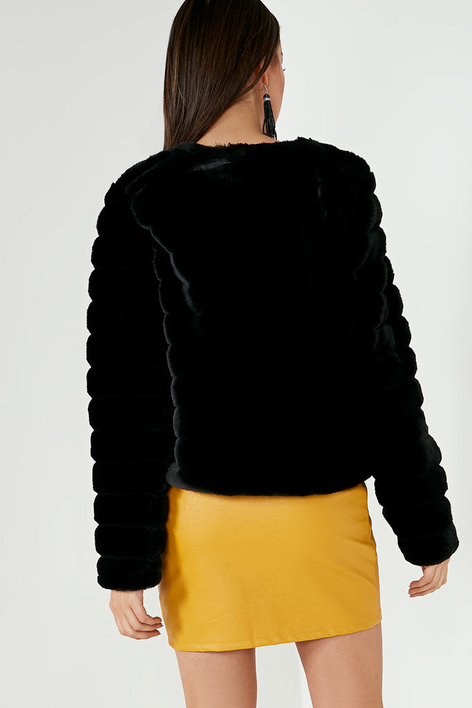 Avie Black Faux Fur Jacket