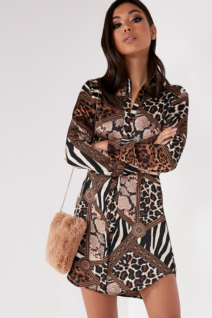 Saylah Brown Scarf Print Shirt Dress