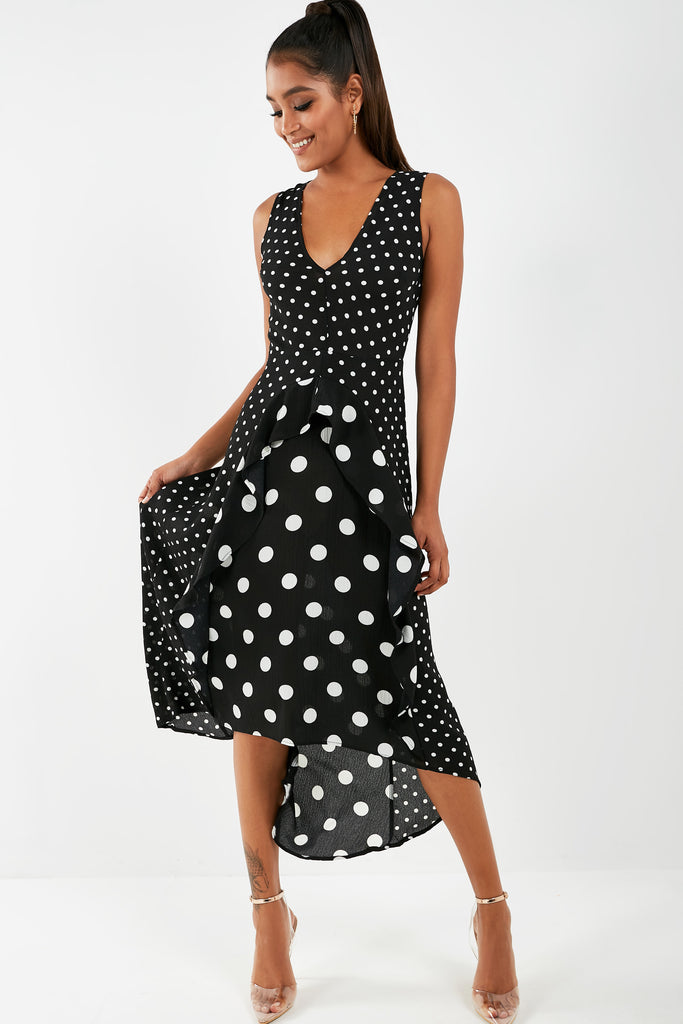 Bailey Black Polka Dot V Neck Dress