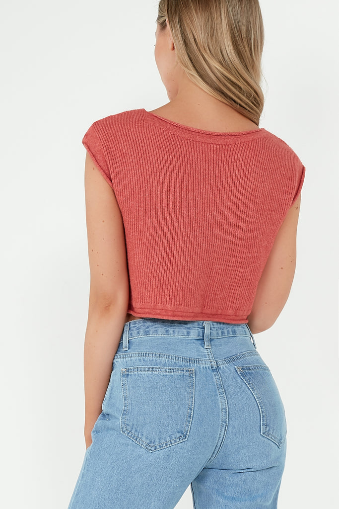 Bailey Rose Knitted Sleeveless Crop Top