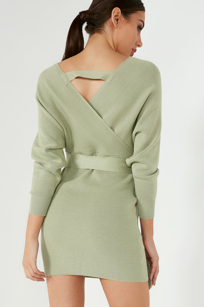 Bara Green Bat Wing Dress