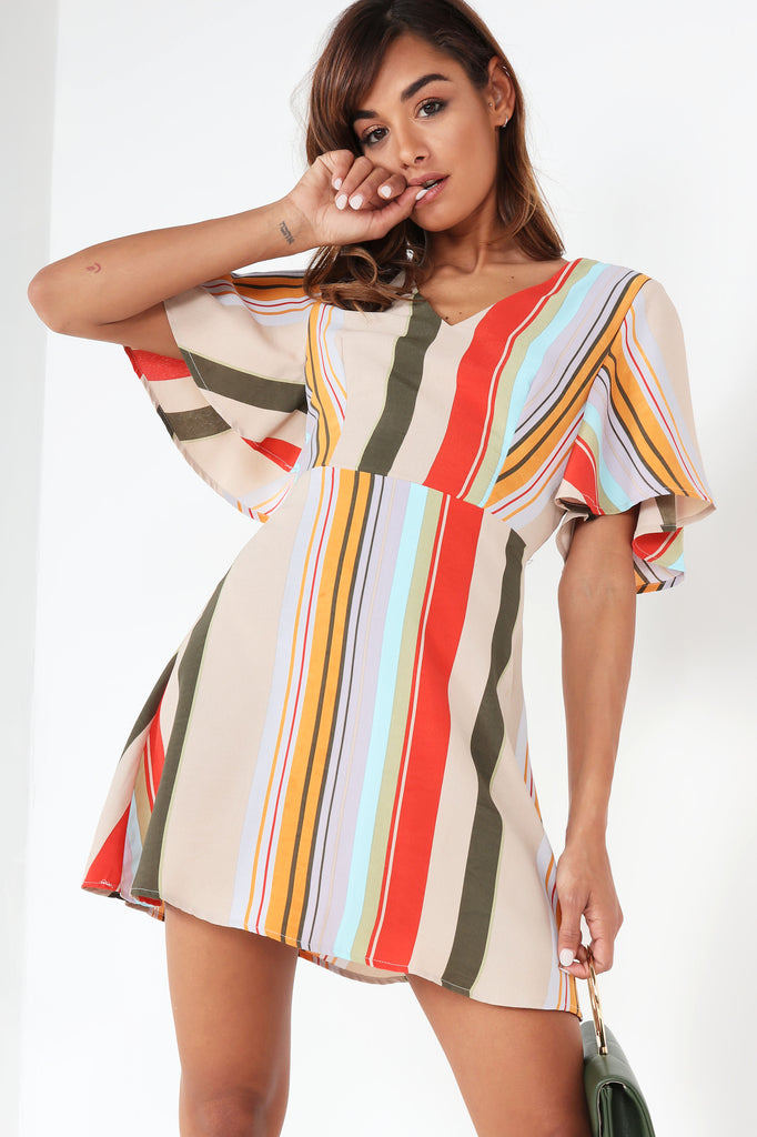 Barb Beige Multi Stripe Skater Dress